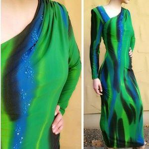 NWT Vintage DIANE FREIS Jersey GRAPHIC MAXI DRESS